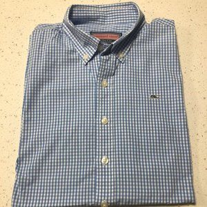 Vineyard Vines Boys Plaid Oxford Size Large 16-18